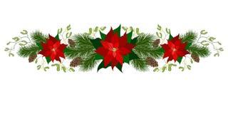 Décorations de vacances de Noël avec la poinsettia Photographie stock libre de droits