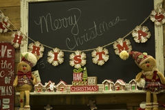 Décorations de vacances pour la maison, Joyeux Noël Photo stock