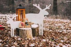 Décorations du ` s de nouvelle année dans la forêt Images libres de droits