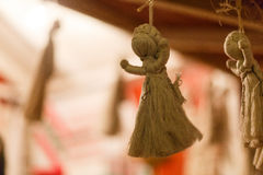 Décorations et corde rétro Ukraine de Noël Image stock
