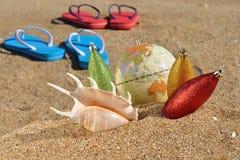 Décorations et seashell de Noël photo stock