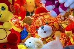 Décorations lunaires chinoises Pékin Chine de nouvelle année de chiens rouges Photographie stock libre de droits