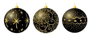 Décorations noires de Noël Images stock