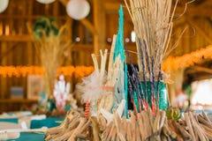 Décorations orientées de réception de mariage d'océan de plage photo libre de droits