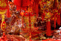 Décorations rouges chinoises de poissons Images libres de droits