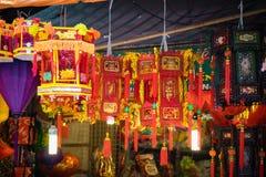 Décorations traditionnelles de couleur dans le festival de mi-automne de l'Asie photos libres de droits