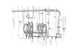 Décorez dans le mur en bois de style de grenier et montrez le tuyau électrique en acier illustration de vecteur