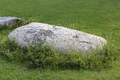 Décorez la pelouse avec une grande pierre blanche belle photo libre de droits