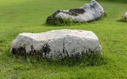 Décorez la pelouse avec une grande pierre blanche belle image libre de droits