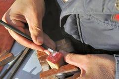 Découpage d'un sceau chinois Images stock