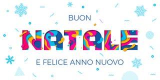Découpage de couleur de papercut de vecteur de fond de carte de voeux de Buon Natale Merry Christmas Italian Photos stock