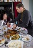 Découpage de la Turquie de dîner de thanksgiving Photographie stock