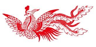 Découpage de papier chinois - Phoenix Photo stock