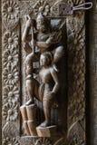 Découpage du bois antique sous forme de divinités Photos libres de droits