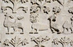 Découpage en pierre. Cathédrale de rue Demetrius (1193-1197) Photographie stock
