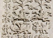 Découpage en pierre. Cathédrale de rue Demetrius (1193-1197) Image libre de droits