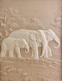 Découpage en pierre d'un éléphant Photos libres de droits