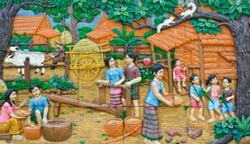 Découpage en pierre de culture thaïe Photographie stock libre de droits
