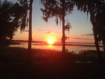 Découpage en tranches du coucher du soleil Photographie stock libre de droits