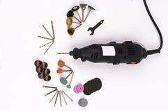 Découpage, perçage, outils de polissage photos stock