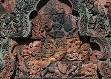 Découpage. Temple de Banteay Srei. Angkor. Le Cambodge. Photographie stock libre de droits