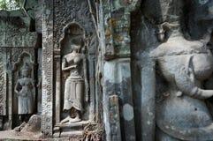 Découpages d'Apsara dans Beng Mealea   Images libres de droits
