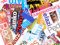 Découpages de revue - mots inachevés Photographie stock