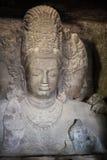 Découpages de roche dans les cavernes d'Elephanta images libres de droits