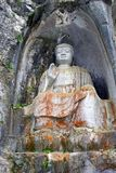 Découpages de roche de Bouddha dans le temple de Lingyin, Chine Photos stock