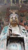 Découpages de roche de montagne de tintement de Dazu Bao Image libre de droits