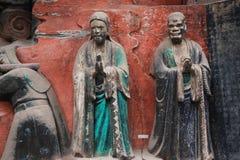 Découpages de roche de montagne de tintement de Dazu Bao Image stock