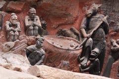 Découpages de roche de montagne de tintement de Dazu Bao Photos stock