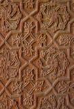 Découpages en pierre sur le mur de temple. l'Inde Images libres de droits