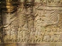 Découpages en pierre - wat d'angkor Photo libre de droits