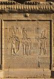 Découpages hiéroglyphiques dans le temple égyptien antique Images stock