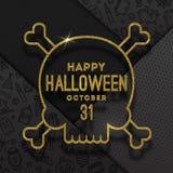 Découpe d'or de scintillement d'un crâne avec la salutation de Halloween sur un fond noir avec les signes et les symboles linéair illustration de vecteur