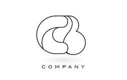 Découpe d'ensemble de Logo With Thin Black Monogram de lettre de monogramme de CB Images libres de droits