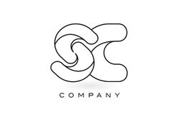 Découpe d'ensemble de Logo With Thin Black Monogram de lettre de monogramme de Sc Image libre de droits