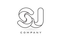 Découpe d'ensemble de Logo With Thin Black Monogram de lettre de monogramme de SJ Photographie stock