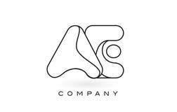 Découpe d'ensemble de Logo With Thin Black Monogram de lettre de monogramme des EA Photographie stock libre de droits