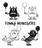 Découpe et monstres de silhouette réglés Photos stock