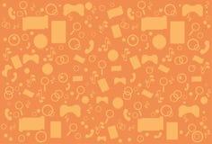 Découpe mobile abstraite moderne de vue d'angle supérieur d'application au-dessus de fond orange Photos stock