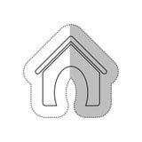 Découpe monochrome avec l'autocollant moyen d'ombre avec la maison d'animal familier Images libres de droits