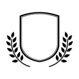 Découpe monochrome de bouclier avec des drapeaux d'anf de branche d'olivier illustration stock