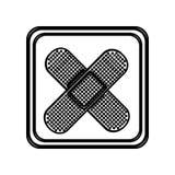 découpe monochrome de bouton avec la bande adhésive croisée Photo stock