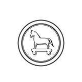 Découpe monochrome en cercle avec le Trojan Horse Image stock