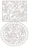 Découpe réglée avec des illustrations des fenêtres en verre teinté avec des oiseaux sur un fond des feuilles et des baies, découp illustration de vecteur