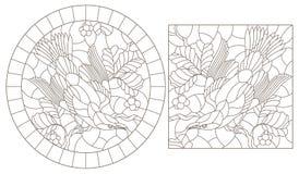 Découpe réglée avec des illustrations des fenêtres en verre teinté avec des oiseaux sur un fond des feuilles et des baies, découp illustration libre de droits