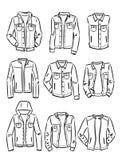 Découpes de l'ensemble de vestes du denim des hommes Image libre de droits