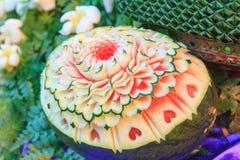 Découpez la pastèque pour fleurir la forme Photographie stock